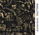 hand drawn pirate seamless... | Shutterstock . vector #306379808