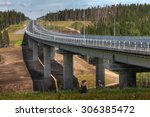 Saint Petersburg, Russia - August 7, 2015: Four-line speed highway St. Petersburg - Sortavala, in Leningrad region, conservation area, new modern steel highway bridge on reinforced concrete supports. - stock photo