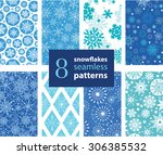 vector snowflakes hand drawn 8... | Shutterstock .eps vector #306385532