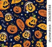vector boo pumpkins halloween... | Shutterstock .eps vector #306385568