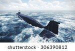 Russian Borei class submarine at sea. Rear view. Realistic 3D illustration was done from my own 3D rendering file.