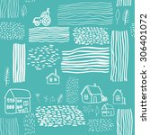 hand drawn pattern with farm... | Shutterstock .eps vector #306401072
