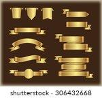 golden ribbons.golden ribbon... | Shutterstock .eps vector #306432668