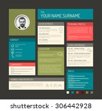 vector minimalist cv   resume... | Shutterstock .eps vector #306442928