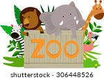 Wild Animals Holding Wooden Zo...