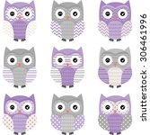purple grey cute owl collections | Shutterstock .eps vector #306461996