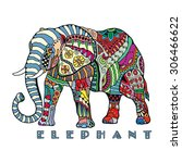 hand drawn stylized elephant... | Shutterstock .eps vector #306466622