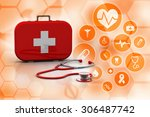 stethoscope and first aid kit...   Shutterstock . vector #306487742