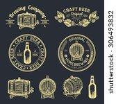 old brewery logos set. kraft... | Shutterstock .eps vector #306493832