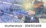 double exposure of businessman... | Shutterstock . vector #306501608