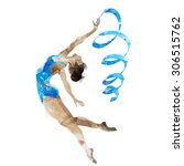 watercolor gymnast with ribbon | Shutterstock . vector #306515762