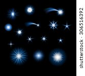 set of starbursts and stars ... | Shutterstock .eps vector #306516392