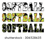 softball text with softballs is ... | Shutterstock .eps vector #306528635