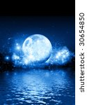 A romantic blue moon on a starry background with room for text to be dropped in. - stock photo