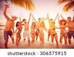 happy people on beach with... | Shutterstock . vector #306575915