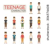set of cartoon teenagers... | Shutterstock .eps vector #306576608