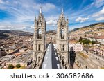 twin steeples of the basilica... | Shutterstock . vector #306582686
