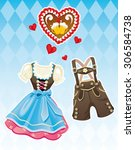 oktoberfest dirndl dress and... | Shutterstock .eps vector #306584738