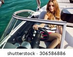 girl on yacht in ocean | Shutterstock . vector #306586886
