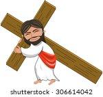 suffering jesus carrying heavy...