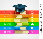 book stack info on white... | Shutterstock .eps vector #306619196