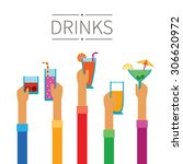 raised hands with drinks and... | Shutterstock .eps vector #306620972