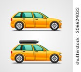 car with the luggage. vector... | Shutterstock .eps vector #306624032