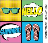 summer time card  poster. pop... | Shutterstock .eps vector #306624602
