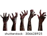 Blood Zombie Hands On White...