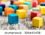 colorful wooden building blocks.... | Shutterstock . vector #306641438