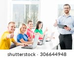 students at the informatics and ... | Shutterstock . vector #306644948