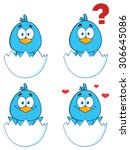 Cute Blue Bird Cartoon...
