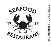 seafood restaurant label or... | Shutterstock . vector #306670238