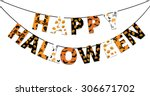 halloween orange and black... | Shutterstock .eps vector #306671702