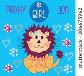 pretty girl lion with flowers... | Shutterstock .eps vector #306675962