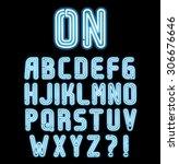 neon light font  complete... | Shutterstock .eps vector #306676646