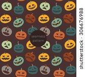 halloween seamless pattern.... | Shutterstock .eps vector #306676988