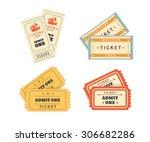 retro double tickets set.... | Shutterstock .eps vector #306682286