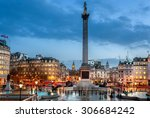 trafalgar square is a tourist... | Shutterstock . vector #306684242