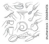 woman hands holding kitchen... | Shutterstock . vector #306684656