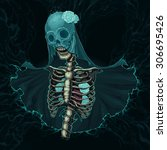 skeleton with veil and white... | Shutterstock .eps vector #306695426