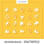 fruit and vegetables icon set.... | Shutterstock .eps vector #306700922
