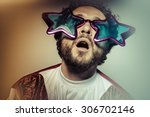 geek  man with glasses and... | Shutterstock . vector #306702146