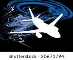 vector airplane in thunderstorm | Shutterstock .eps vector #30671794