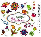 beautiful seamless floral... | Shutterstock . vector #306718136