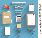 office workplace. calculator ... | Shutterstock .eps vector #306750062