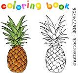 cartoon pineapple coloring book.... | Shutterstock . vector #306774758