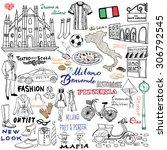 italy  milan hand drawn set.... | Shutterstock .eps vector #306792545