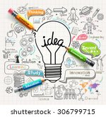 lightbulb ideas concept doodles ... | Shutterstock .eps vector #306799715