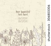 hand drawn floral seamless... | Shutterstock .eps vector #306803306